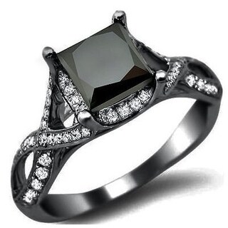 Black Gold 2 2/5ct TDW Black Diamond Princess Engagement Ring