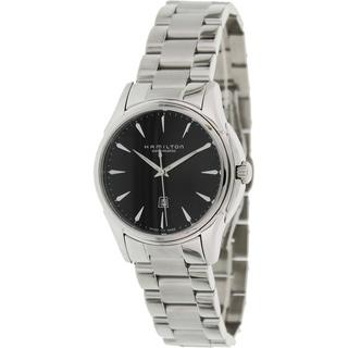 Hamilton Women's 'Jazzmaster H32315131' Silvertone Stainless Steel Black Dial Swiss Automatic Watch