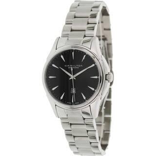 Hamilton Women's 'Jazzmaster H32315131' Silvertone Stainless Steel Black Dial Swiss Automatic Watch|https://ak1.ostkcdn.com/images/products/8191097/8191097/Hamilton-Womens-Jazzmaster-H32315131-Silvertone-Stainless-Steel-Black-Dial-Swiss-Automatic-Watch-P15526565.jpg?impolicy=medium