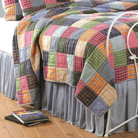 Copper Grove Lafarge Blue and White Bell Stripe Bedskirt