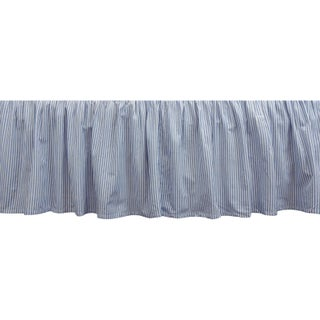 Gracewood Hollow Huxley Blue and White Bell Stripe Bedskirt