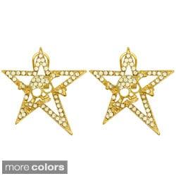 Kate Marie Goldtone or Silvertone Rhinestone Star and Skull Fashion Earrings