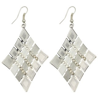 Kate Marie Silvertone Rhinestone Tetragon Fashion Earrings