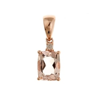 Anika and August 10k Rose Gold Morganite and Diamond Accent Necklace
