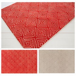 Hand-tufted Allie Beige Geometric Wool Rug (5' x 7'6)
