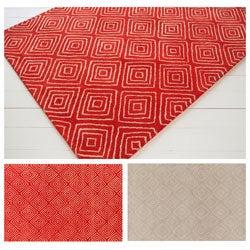 Hand-tufted Allie Beige Geometric Wool Rug - 5' x 7'6
