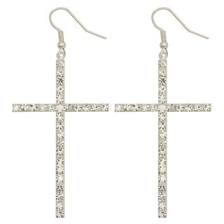 Kate Marie Silvertone Rhinestone Cross Design Fashion Earrings