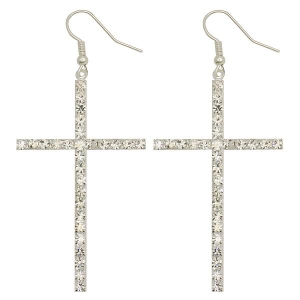 Kate Marie Silvertone Rhinestone Cross Design Fashion Earrings