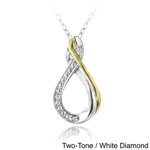 DB Designs Sterling Silver Diamond Accent Infinity Twist Teardrop Necklace