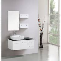 Kokols Floating 36-inch White Cabinet Wall-mount Bathroom Vanity with Mirror and Shelves