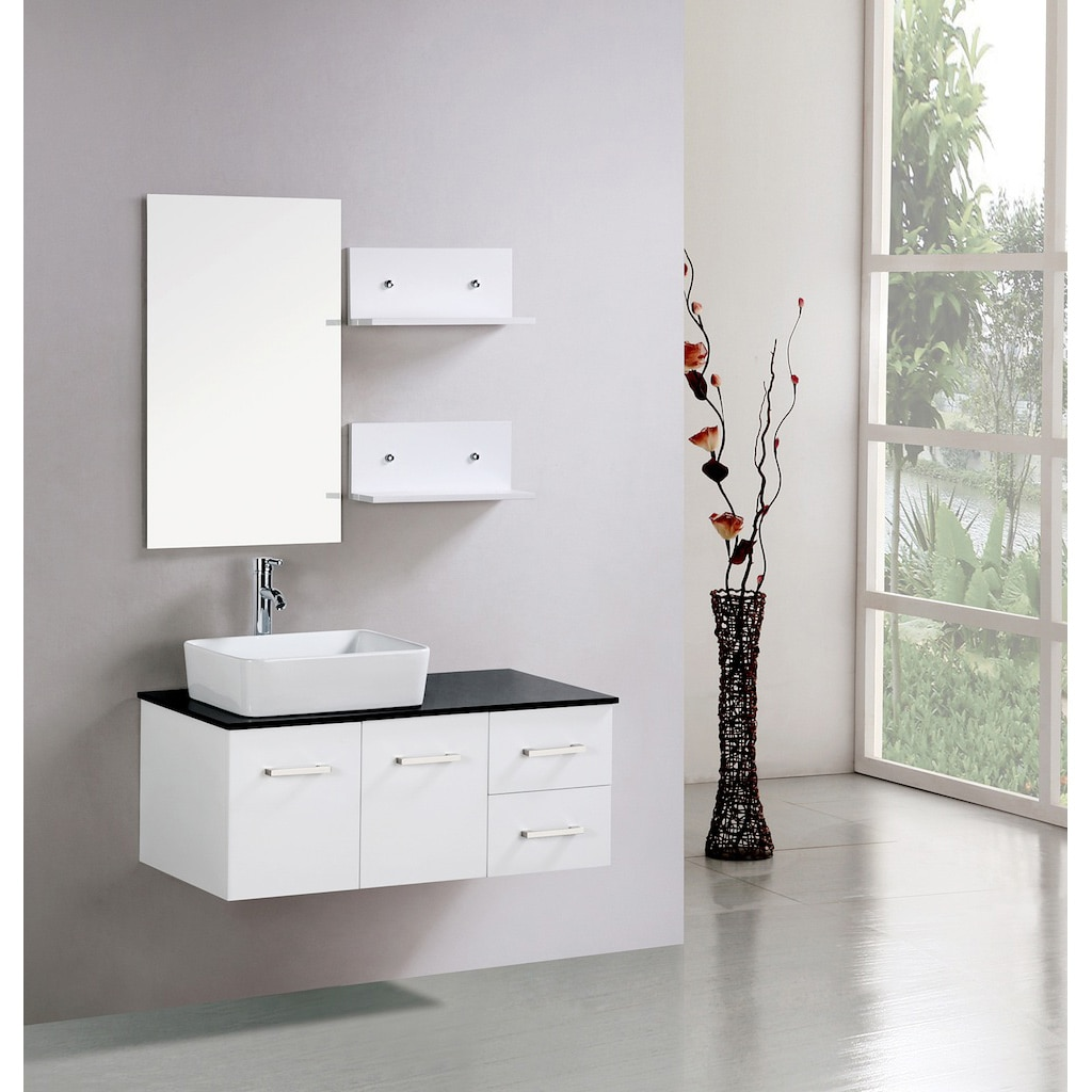 Kokols Floating 36 Inch White Cabinet Wall Mount Bathroom Vanity With Mirror And Shelves
