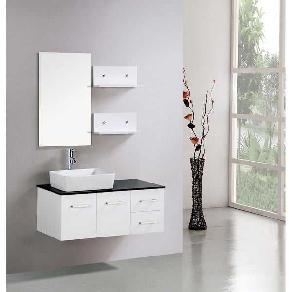inch white cabinet wall mount bathroom vanity with mirror and shelves