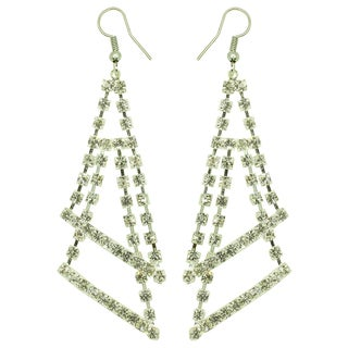 Kate Marie Silvertone Rhinestone Double Triangle Fashion Earrings