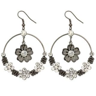 Kate Marie Black-plated Rhinestone 'Ella' Floral Fashion Earrings