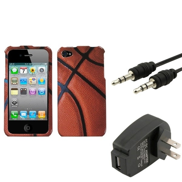 INSTEN Wall Charger/ Audio Cable/ Sports Phone Case Cover for Apple iPhone 4/ 4S