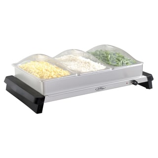 Broil King NBS-3SP Professional Stainless Steel Triple Buffet Server with Plastic Lids