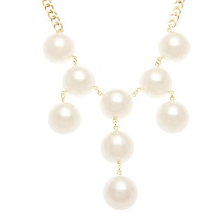 Roman Goldtone Cream Faux Pearl Bib Necklace