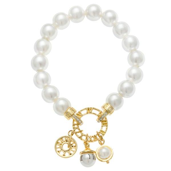 Roman Goldtone Faux Cream Pearl Charm Stretch Bracelet