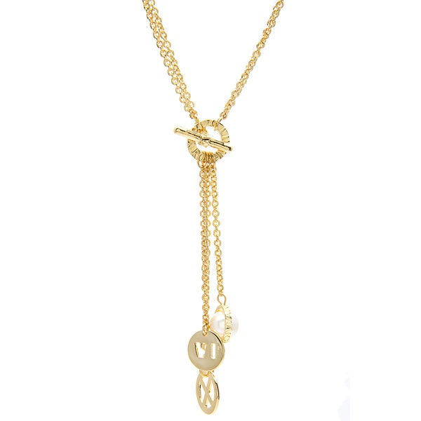 Roman Goldtone Faux Pearl Numeral Charm 'Y' Necklace