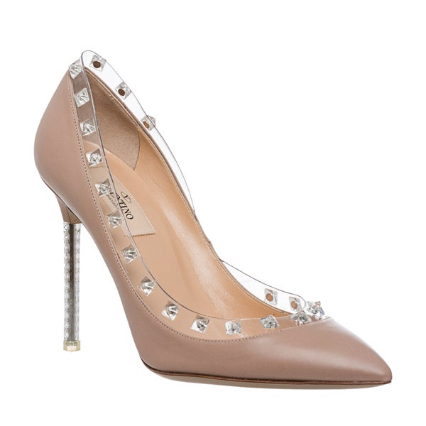 Valentino Women's 'Rockstud Naked' Blush Pointed-toe Pumps