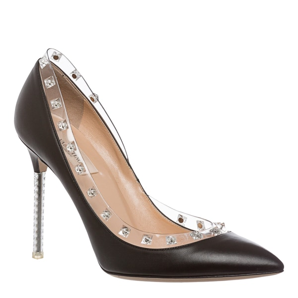 Valentino Women's 'Rockstud Naked' Black Leather Pointed Pumps