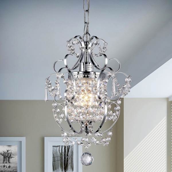 Silver Orchid Single-light Crystal Chandelier