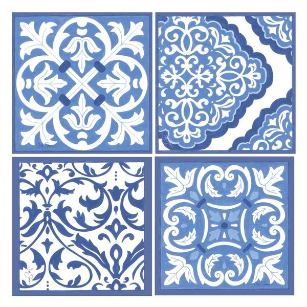 Blue/White Scrollwork Occasions Drink Coasters (Set of 4)