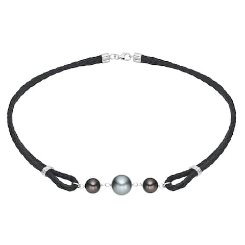 Pearlyta Silver and Black Cord Black Tahitian Pearl Necklace (10-12 mm)