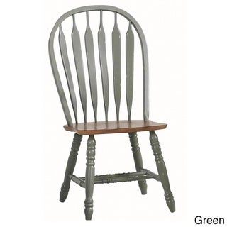 Rustic Oak Large Bow Back Side Chairs (Set of 2)