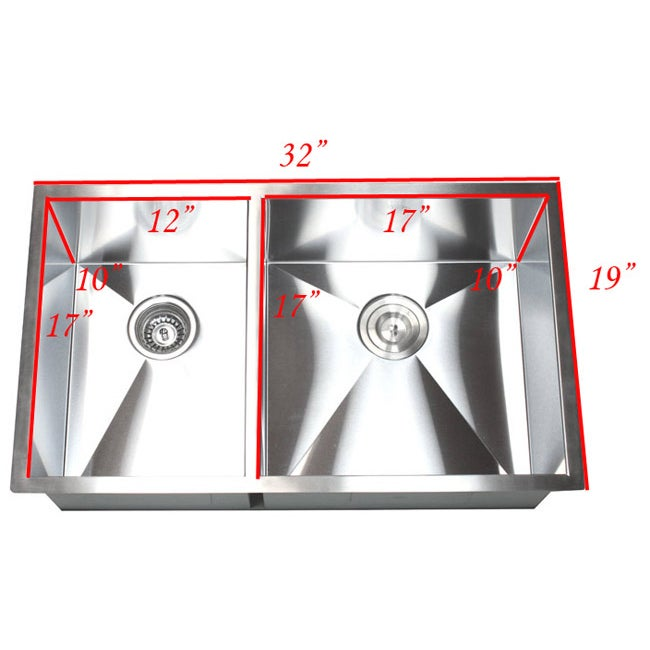 Shop 32 Inch Double Bowl 40/60 Undermount Zero Radius Kitchen Sink   On  Sale   Free Shipping Today   Overstock   8198544