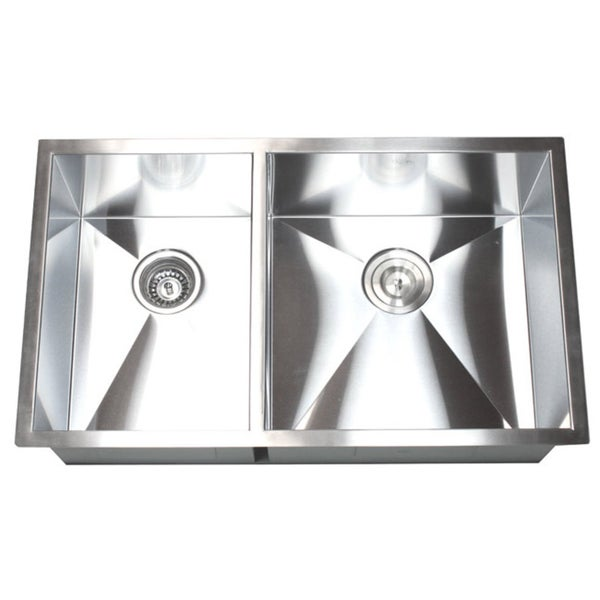Zero Radius Kitchen Sink Part - 41: 32-Inch Double Bowl 40/60 Undermount Zero Radius Kitchen Sink