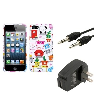 INSTEN Phone Case Cover/ Charger/ 3.5-mm Audio Cable for Apple iPhone 5