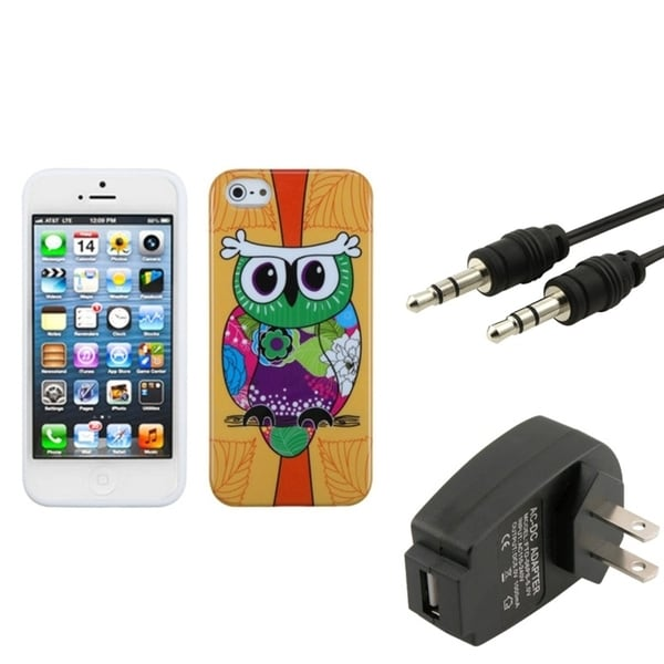 INSTEN Phone Case Cover/ Charger/ 3.5-mm Audio Extension Cable for Apple iPhone 5