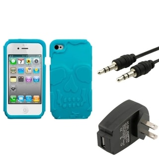 INSTEN Phone Case Cover/ Charger/ 3.5-mm Audio Cable for Apple iPhone 4/ 4S