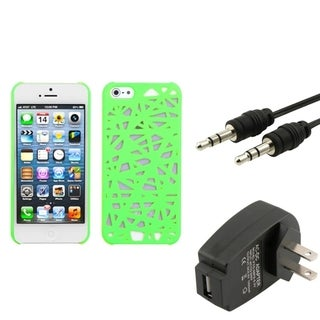 INSTEN Charger/ Audio Cable/ Rubber Coated Phone Case Cover for Apple iPhone 5