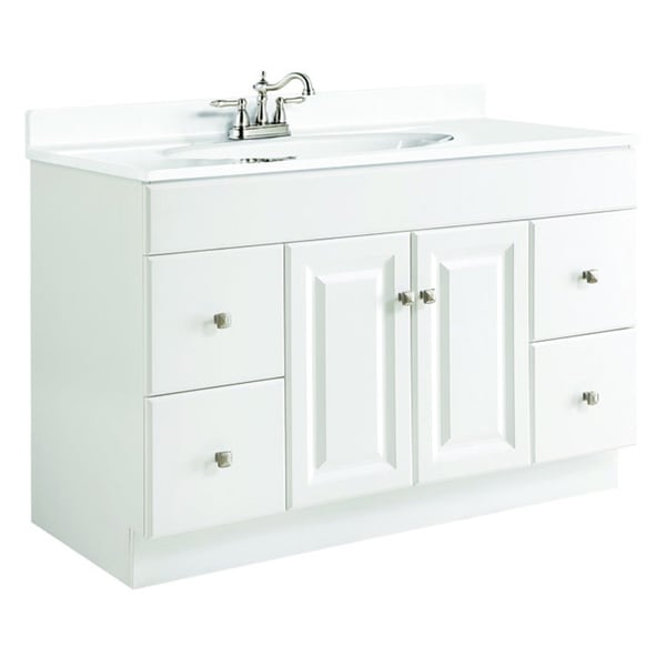 Shop Design House Wyndham White Semi Gloss 4 Drawer Vanity Cabinet