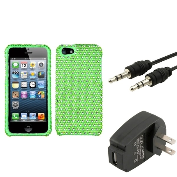 INSTEN Charger/ 3.5-mm Audio Extension Cable/ Phone Case Cover for Apple iPhone 5