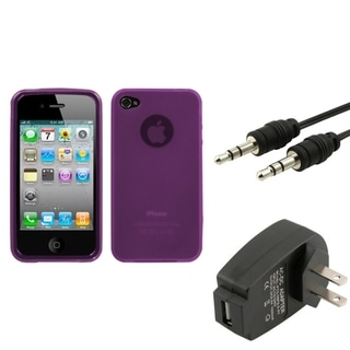 INSTEN Phone Case Cover/ Charger/ 3.5-mm Audio Cable for Apple iPhone 3G/ 3GS