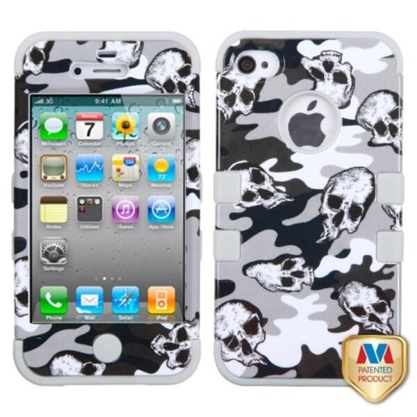 INSTEN Grey Skull Camo/ Grey TUFF Hybrid Phone Case Cover for Apple iPhone 4/ 4S