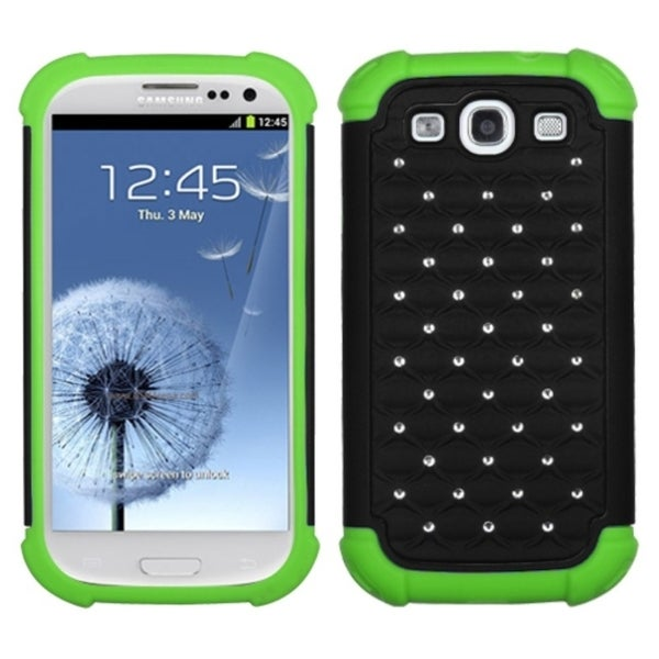 INSTEN Black/ Electric Green Lattice Phone Case Cover for Samsung Galaxy S3 i9300