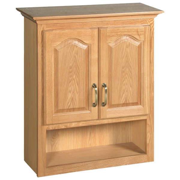 design house richland nutmeg oak 2 door bathroom wall cabinet free