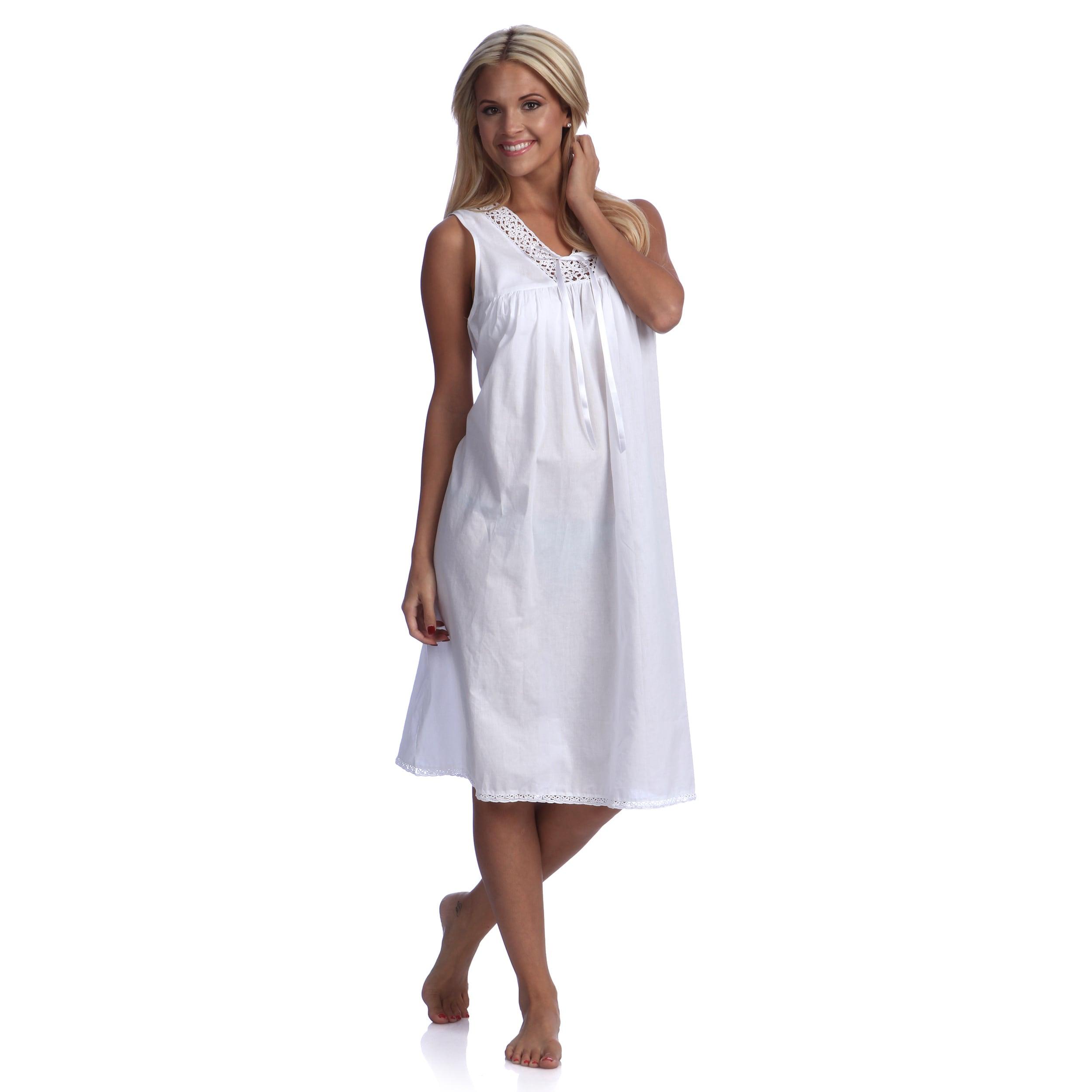 Saro White Tatting Lace Nightgown (L), Women's