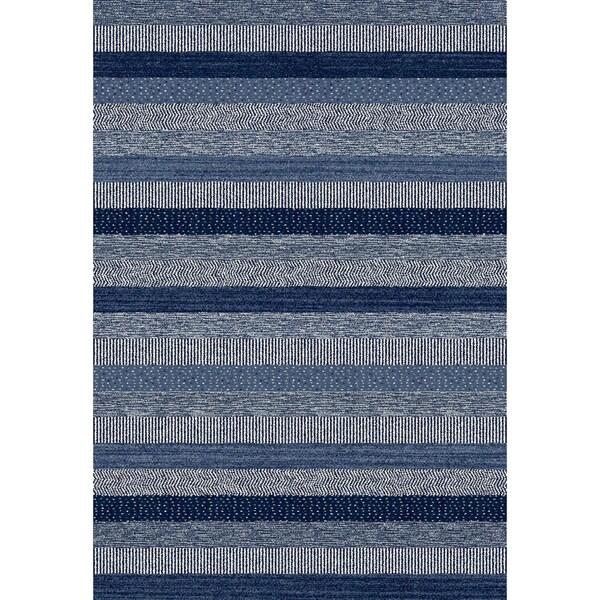Eternity Striped Blue Rug (3'11 x 5'7)