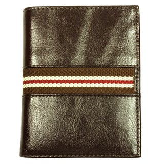 Men's Brown Striped Bi-Fold Fabric-Lining Leather Wallet
