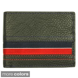 YL Men's Striped Leather Bi-fold Wallet with Two ID Windows