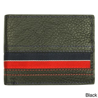 YL Men's Striped Leather Bi-fold Wallet with 10 Card Slots