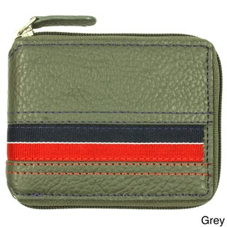 YL Men's Striped Leather Bi-fold Wallet with Fabric Lining (Option: Grey)