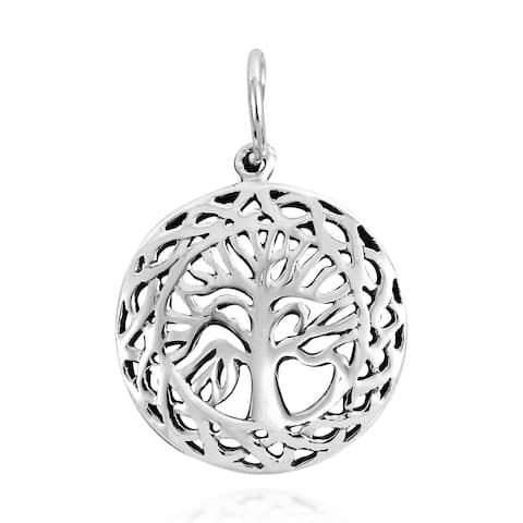 Handmade Celtic Framed Tree of Life .925 Silver Pendant or Charm (Thailand)