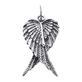 Handmade Forever Love Heart Shape Angel Wings .925 Silver Pendant (Thailand)
