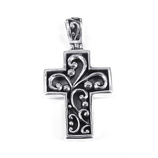 Swirl Filigree Centered Cross .925 Sterling Silver Pendant (Thailand)